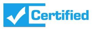 logo de certificado en color azul