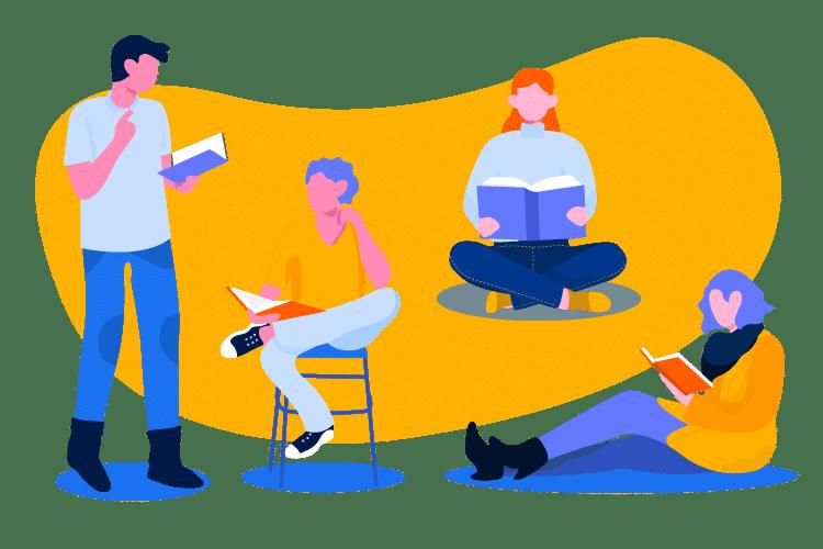 personas en diferentes colores aprendiendo plan de formacion